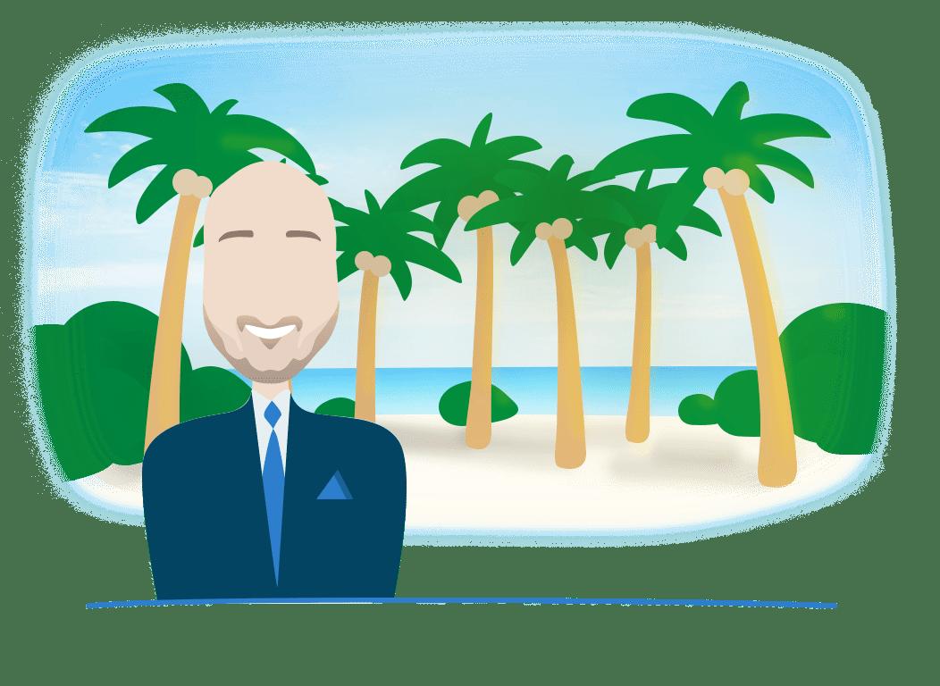 Illustratie van Affluent Wealth Manager Stephan Christophe met een achtergrond van palmbomen, strand en zee